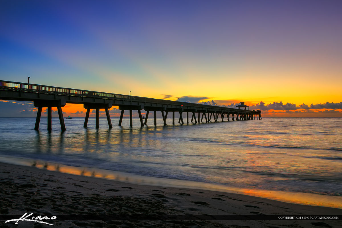 Deerfield Beach Fishing Pier Sunrise Deep Colors
