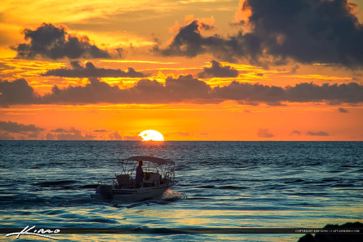 Boca Raton Inlet Sunrise Boat at Jetty