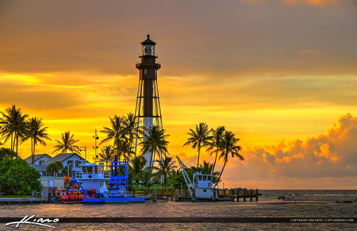 Hillsboro Lighthouse Pompano Beach Sunrise Warm Colors
