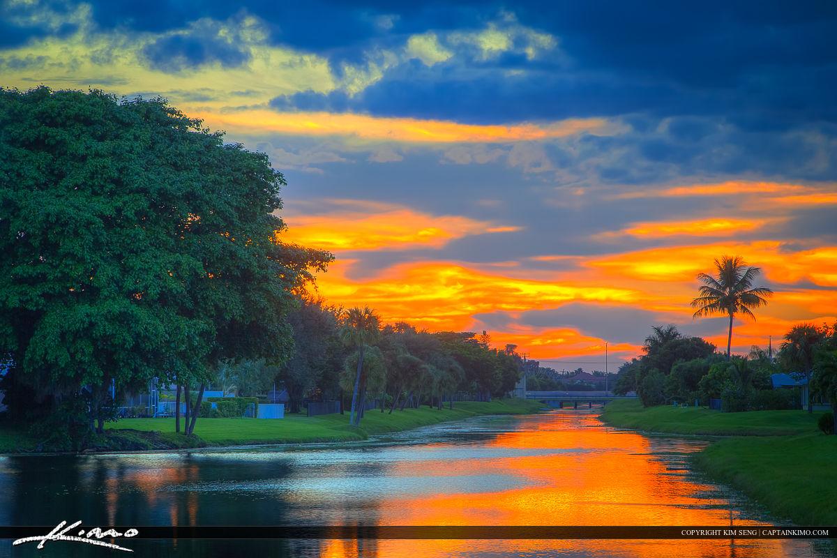 Canal Sunset at Palm Beach Gardens Florida