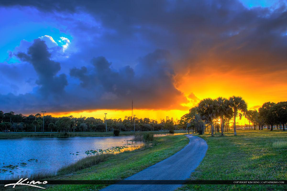 Okeeheelee Park Sunset at Lake Greenacres Florida Running Trail