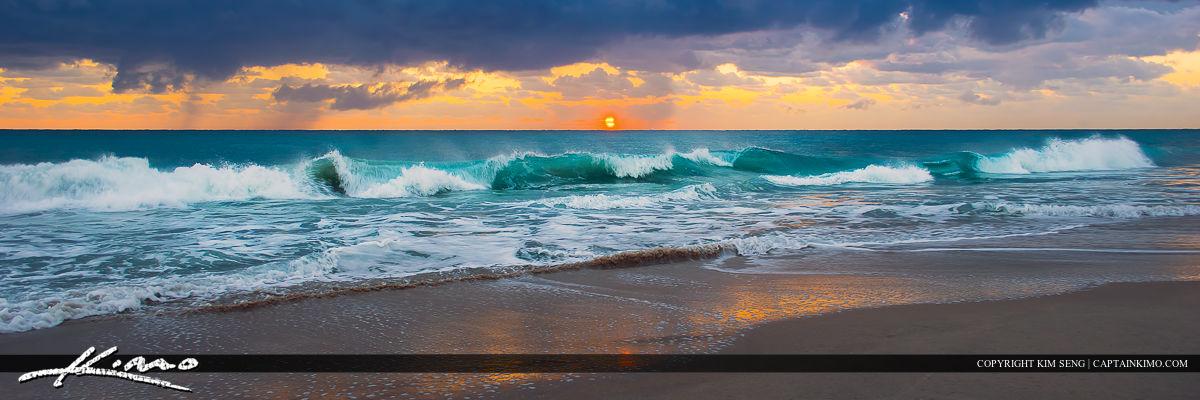 Ocean Wave at Beach Panorama Wide