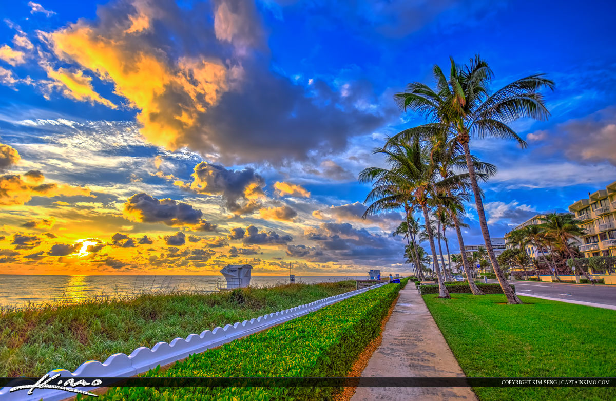 Ocean Boulevard Sunrise at Beach Along Palm Beach Island