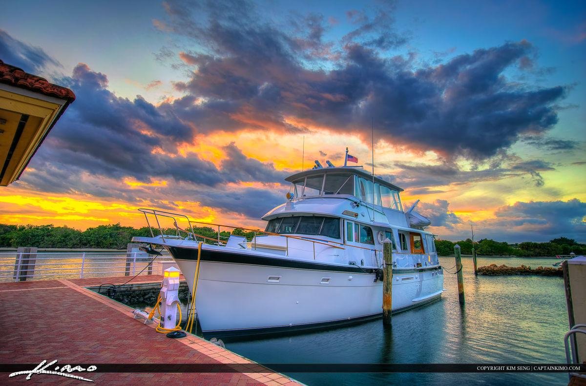 Yacht Sunset at Riverwalk Marina Along Waterway