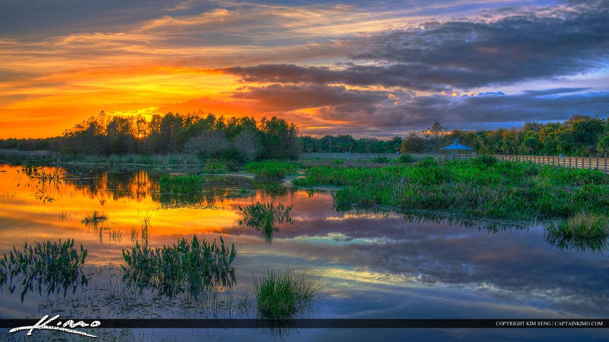 Green Cay Wetlands Sunset along Boardwalk Boynton Beach