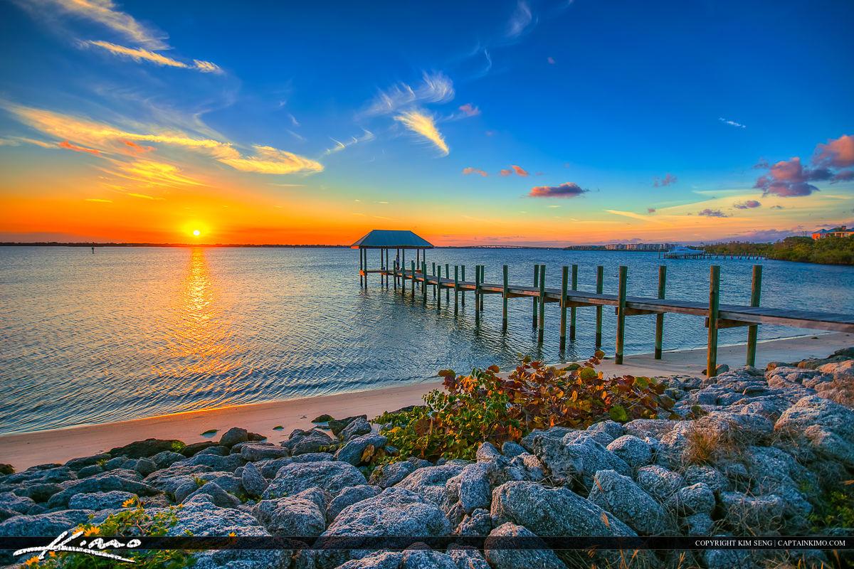 Stuart Florida Sunset at Waterway Pier