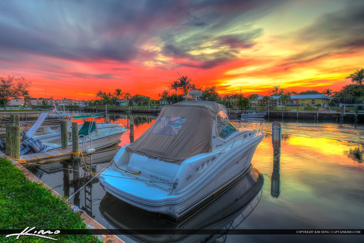 Boats at North Palm Beach Marina Sunset at Canal
