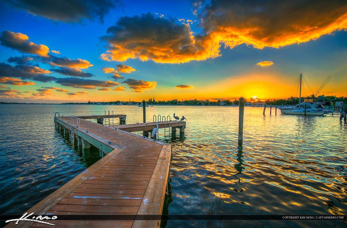 Sunset at the Lantana Boat Ramp by Docks