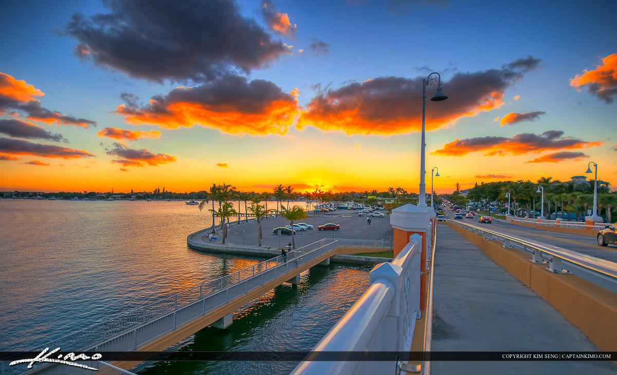 Lantana Florida Drawbridge Sunset Over Park at Boat Dock