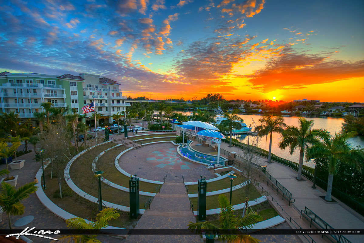 Harborside Place Sunset Waterway at the Theater