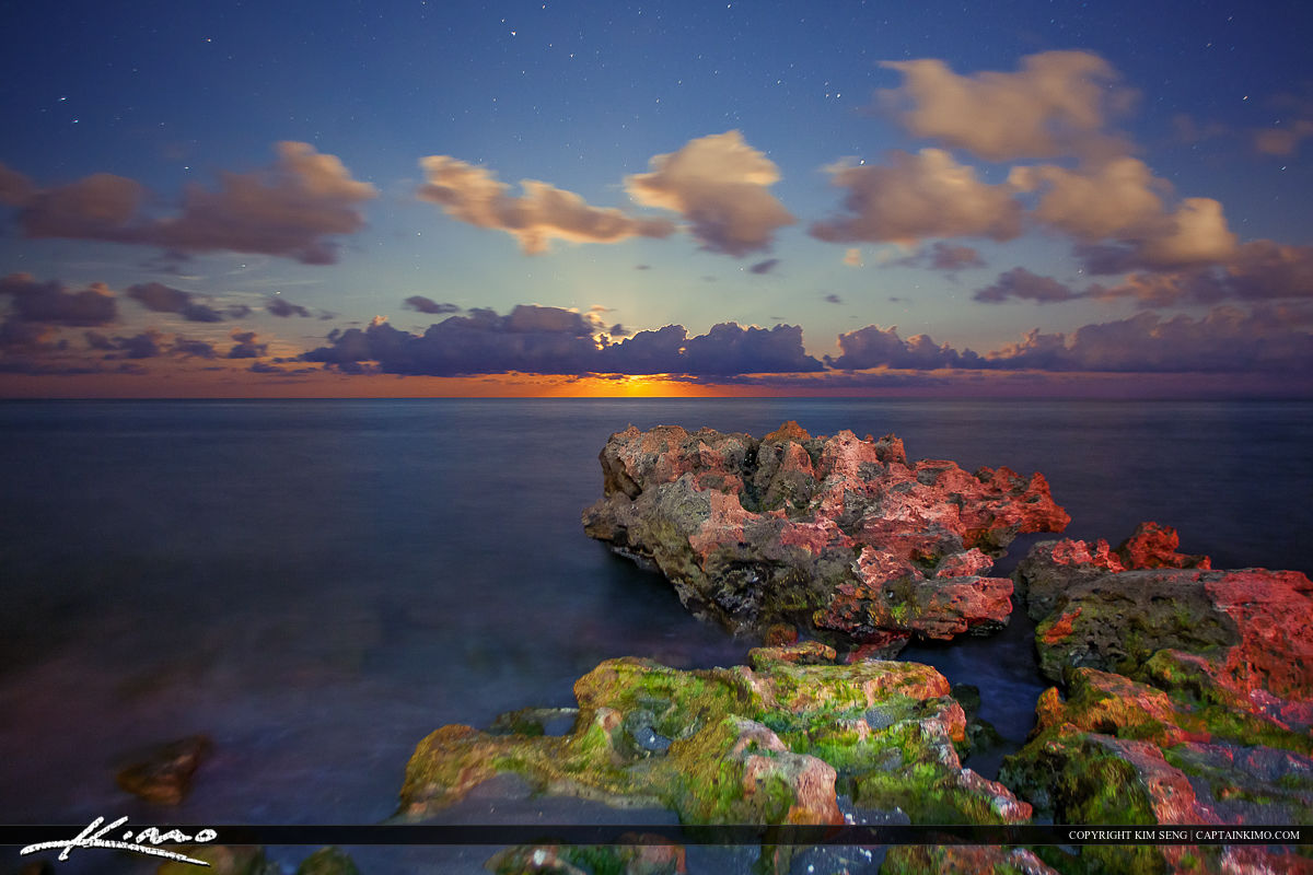 Moon Rise Coral Cove Rock Foreground