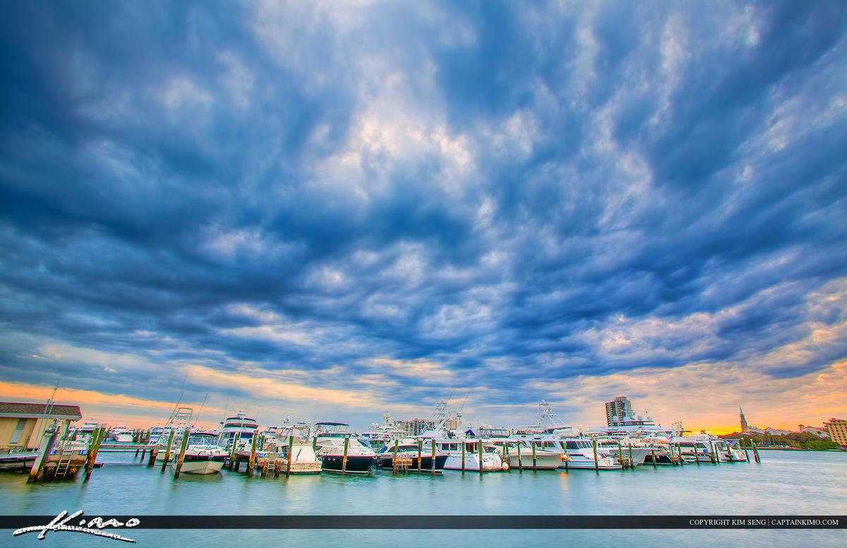 West Palm Beach Marina Dark Clouds Over Waterway