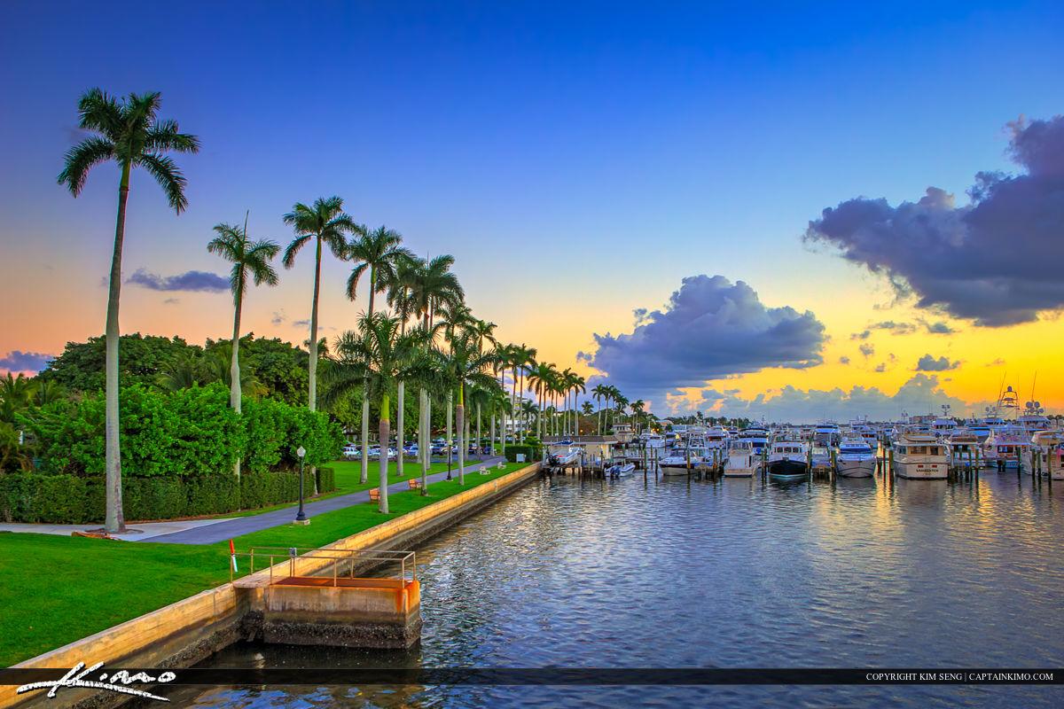Palm Beach Docks Sunset Palm Trees along Waterway