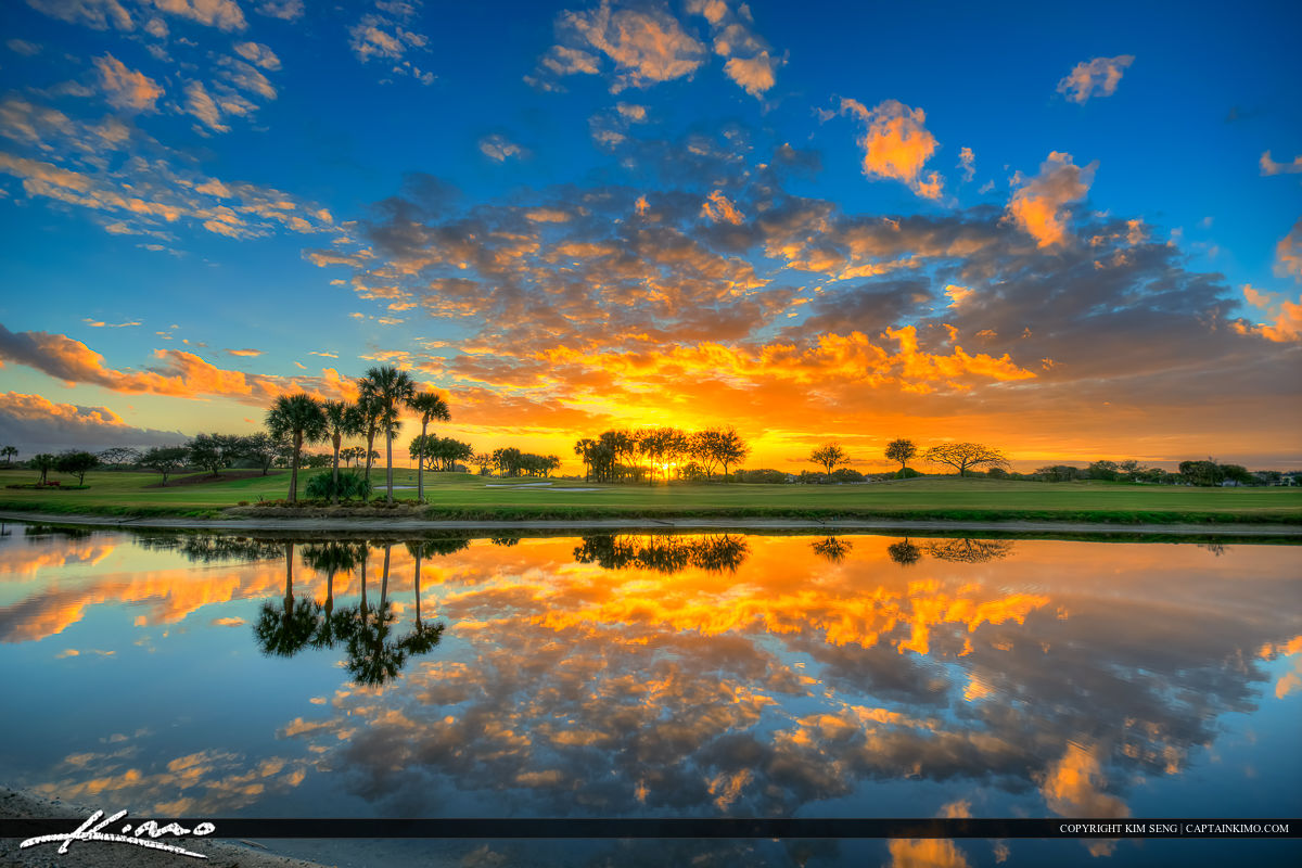 Florida Golf Course Sunset along Lake