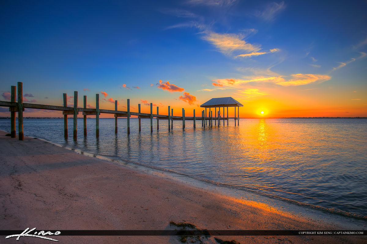 Stuart Florida Sunset Pier from Beach