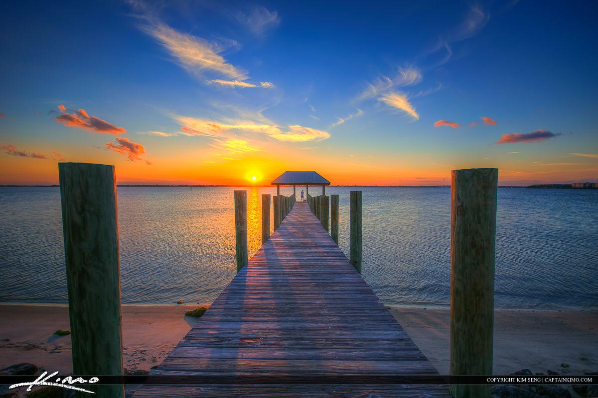 Stuart Florida Sunset Pier Okeechobee Waterway