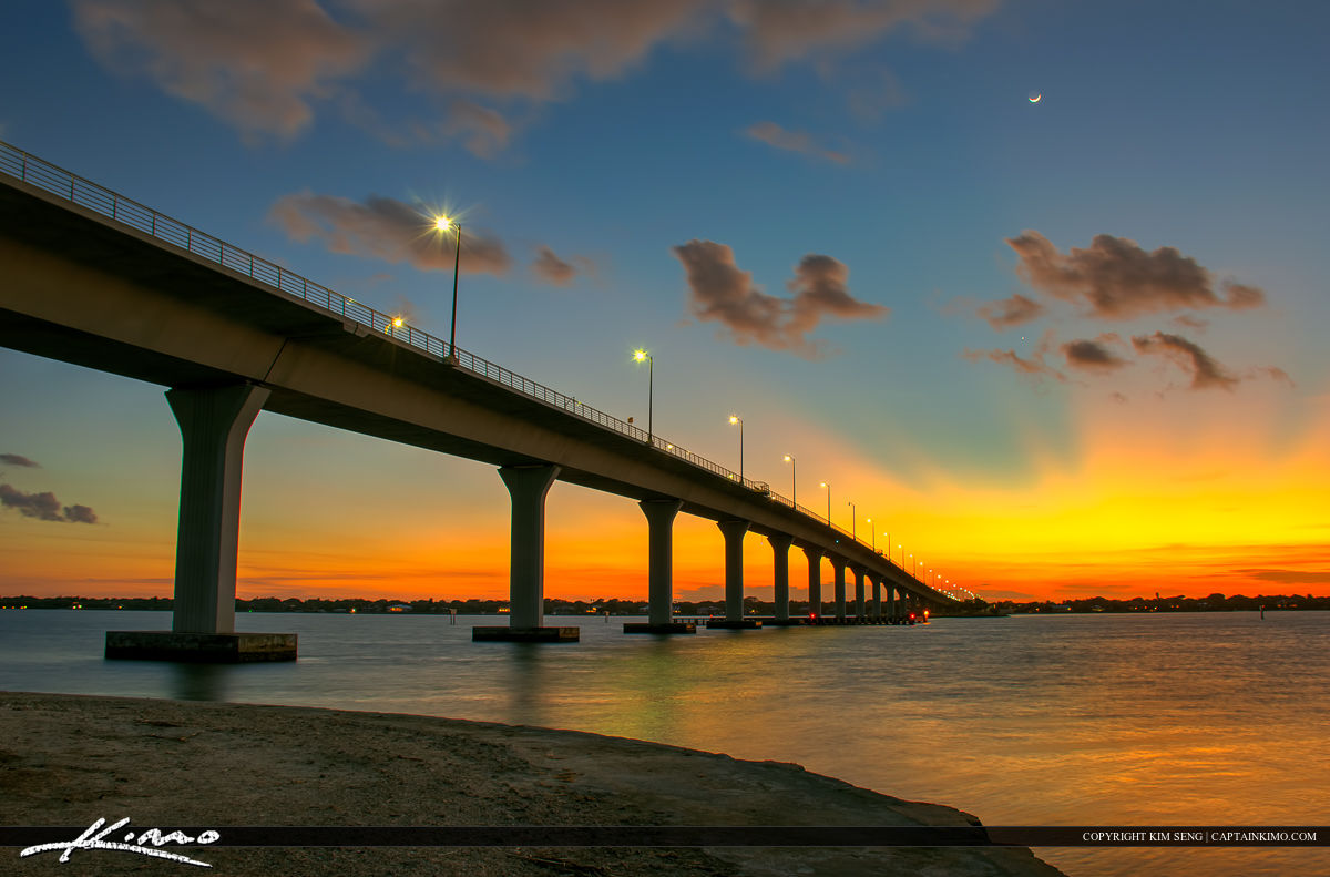 Stuart Florida Okeechobee Waterway sunset at Bridge