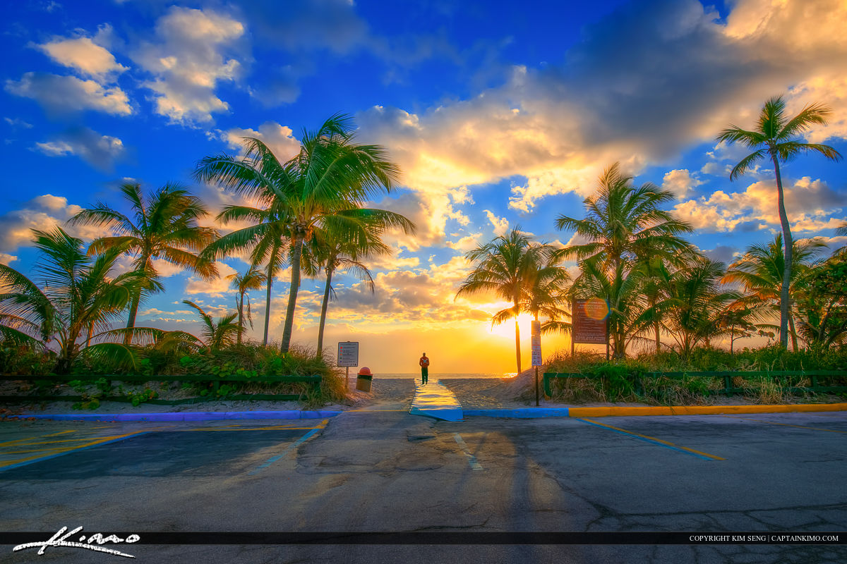 Dania Beach Sunrise at the Parking Lot Entrance