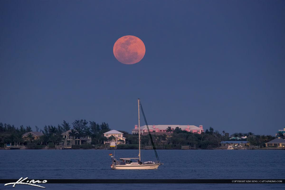 Jensen Beach Moon Rise at Indian Riverside Park Sailboat
