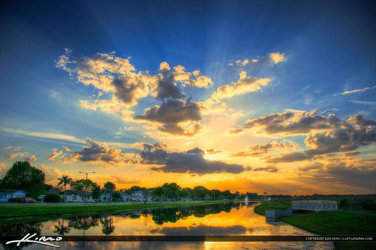 St Cloud Florida Sunset Lakefront Park along Lakeshore Blvd