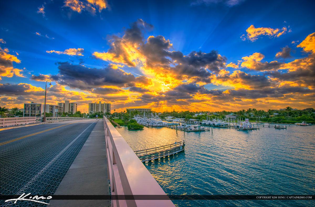 Jupiter Island Sunrise Over Waterway at Marina