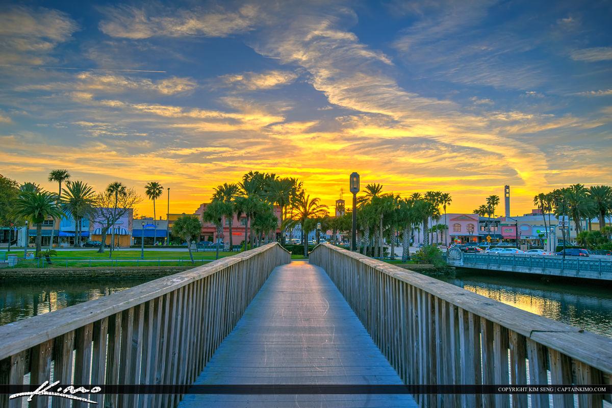 Daytona Beach Florida sunset at Riverfront Park