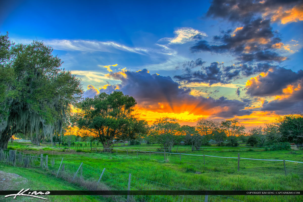 St Cloud Florida Sunset Osceola County Farmland Ranch