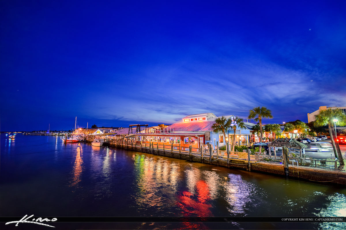 Riverwalk at Night Pinchers Crab Shack Waterway Naples Florida