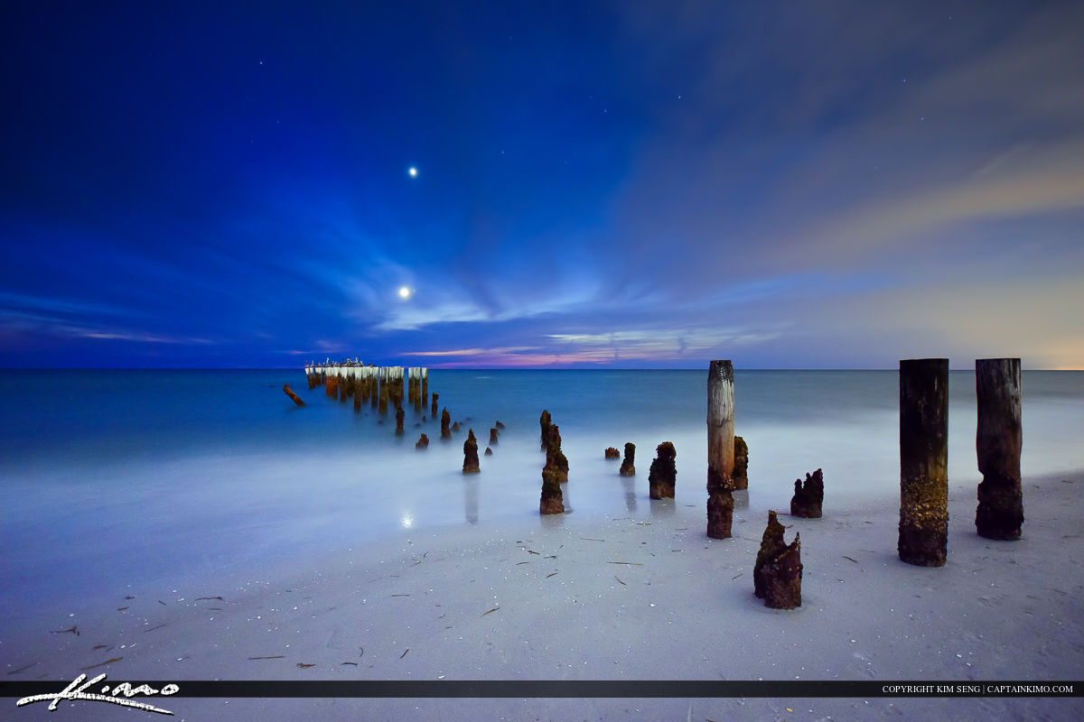 Old Naples Pier Pilings under the Moon Light