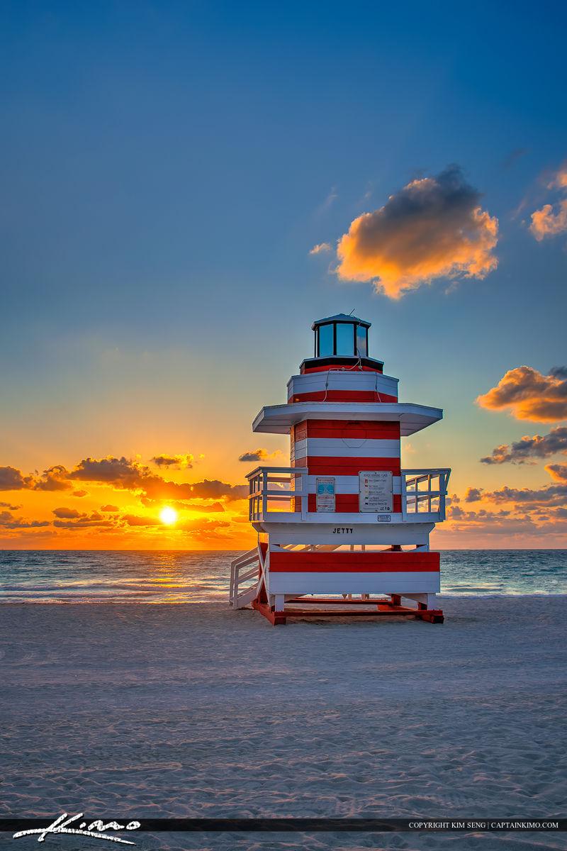 South Beach Miami Sunrise Lifeguard Tower Tall