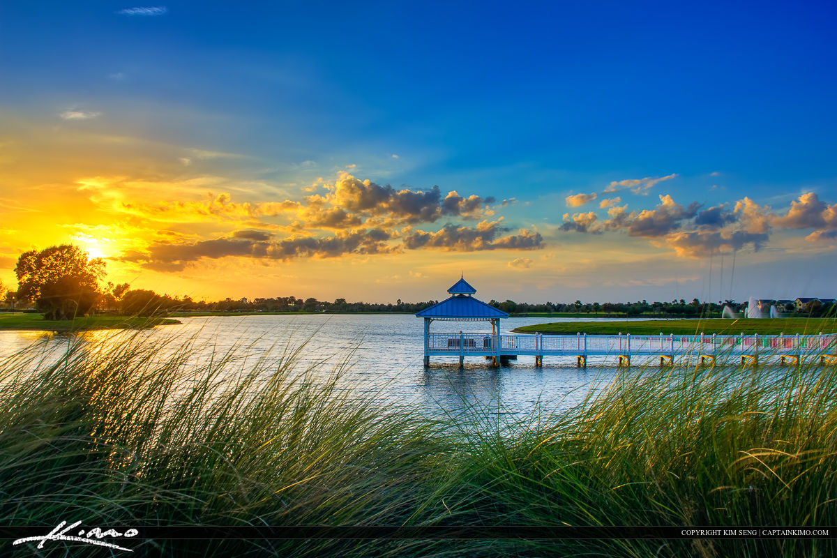 Tradition Sunset at Port St. Lucie Florida by Lake