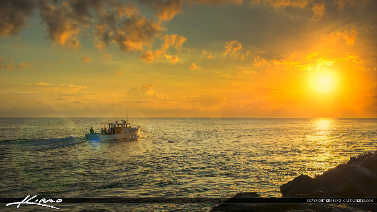 Fishing Boat Out to Sea at Sunrise Jupiter Inlet