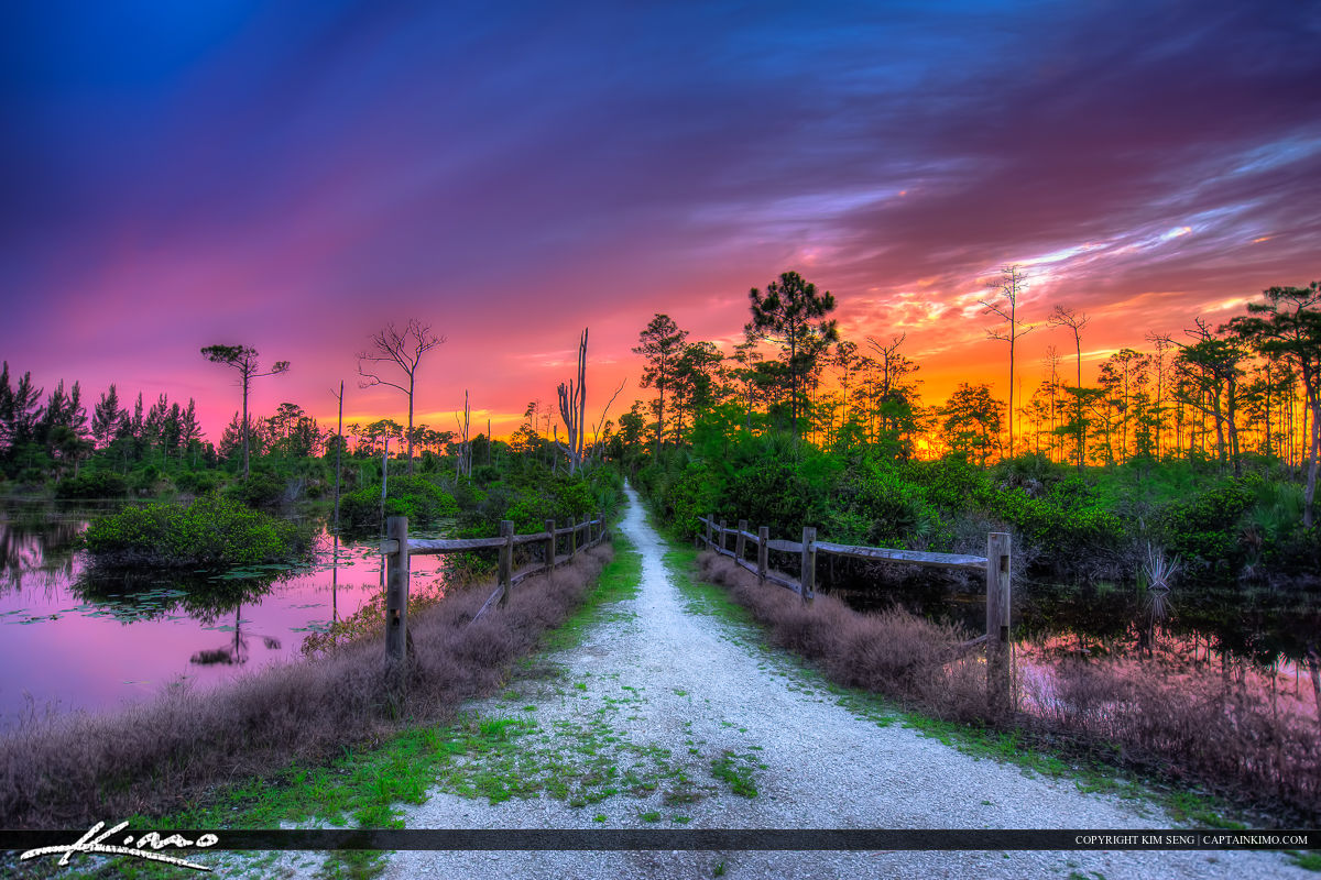 West Palm Beach Hiking Trail at Sunset