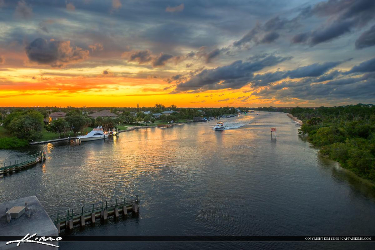 Sunset Along the Juno Beach Waterway Waterfront Property