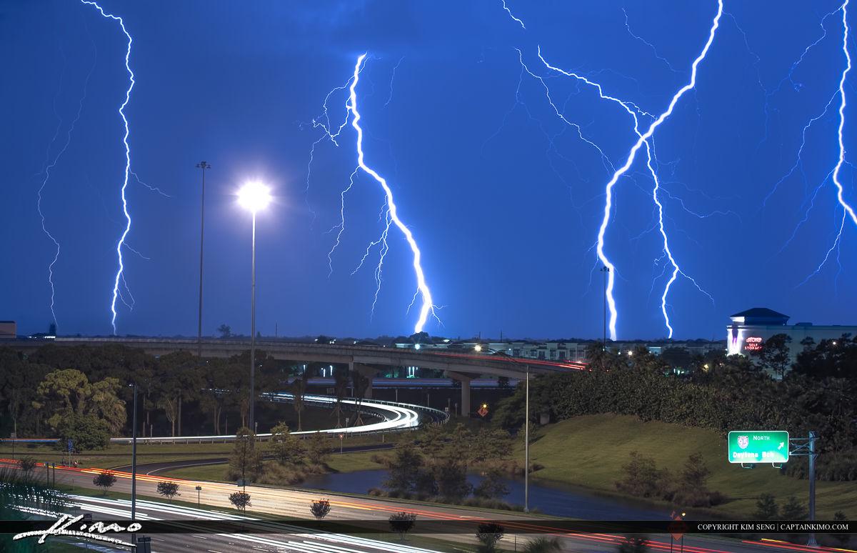 Lightning Strike Florida Highway Weather During Storm