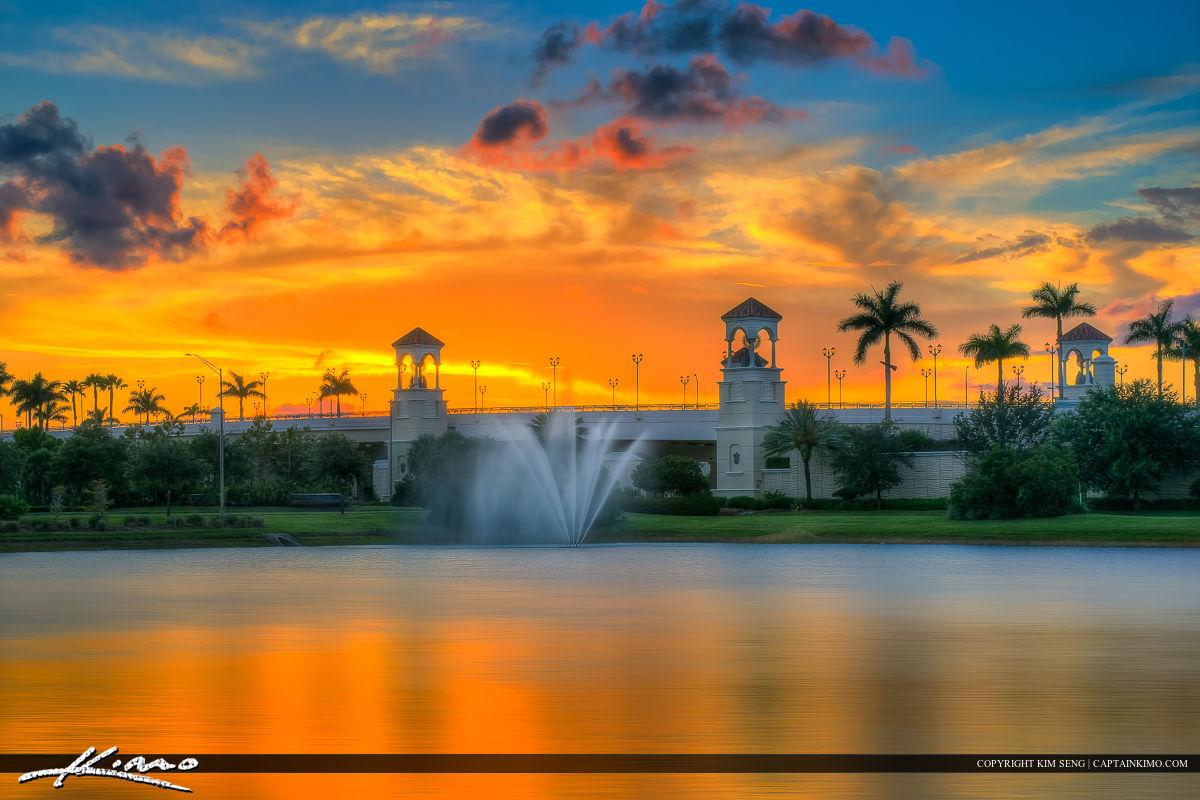 PGA Boulevard Bridge by Lake in Palm Beach Gardens