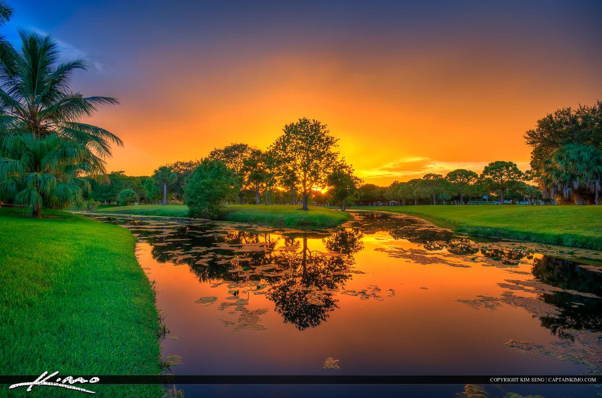 Indian Creek Park Sunset Along Canal Jupiter Florida