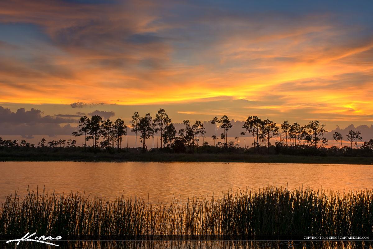 Beautiful Sunset along the Lake at Pine Glades Jupiter Florida