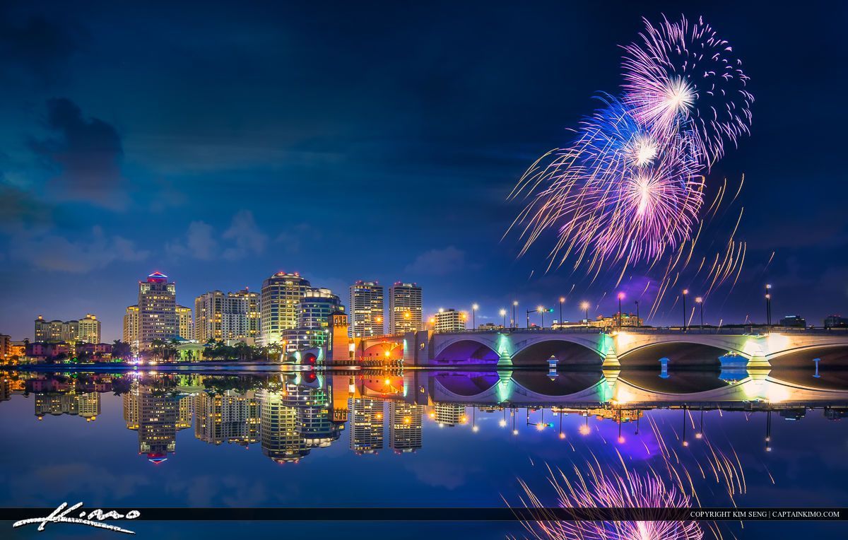 West Palm Beach Fireworks Display at Waterway for Independence D