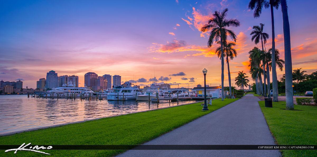 West Palm Beach Bike Trail and Skyline at Marina