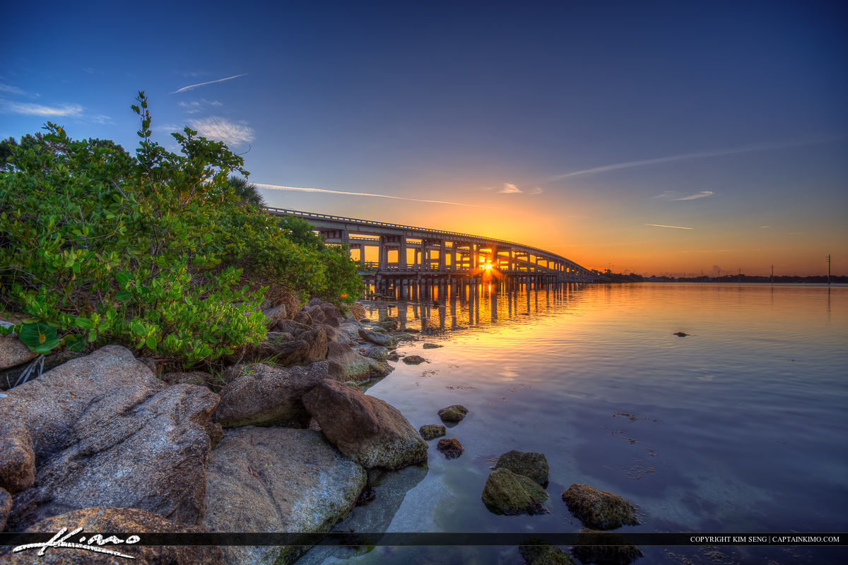 Merritt Island Causeway Bridge at Cocoa Florida along the Indian