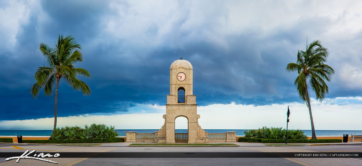Worth Avenue Clock Tower Palm Beach Island Florida Durign Storm