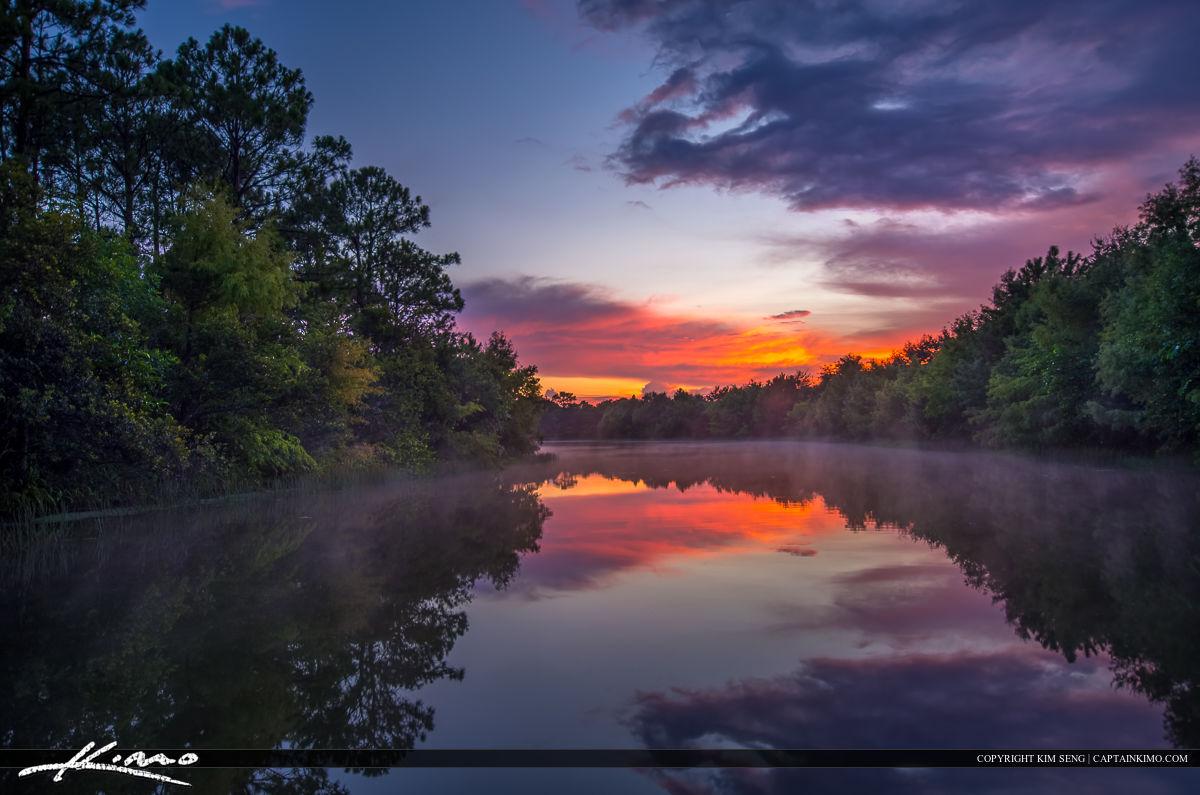 Misty Lake at Sunset After Storm Jupiter Florida