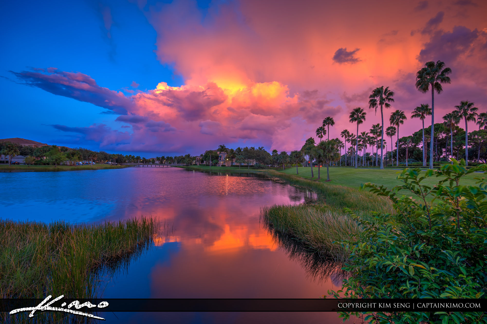 Clouds at Sunset Over Palm Beach Gardens Lake