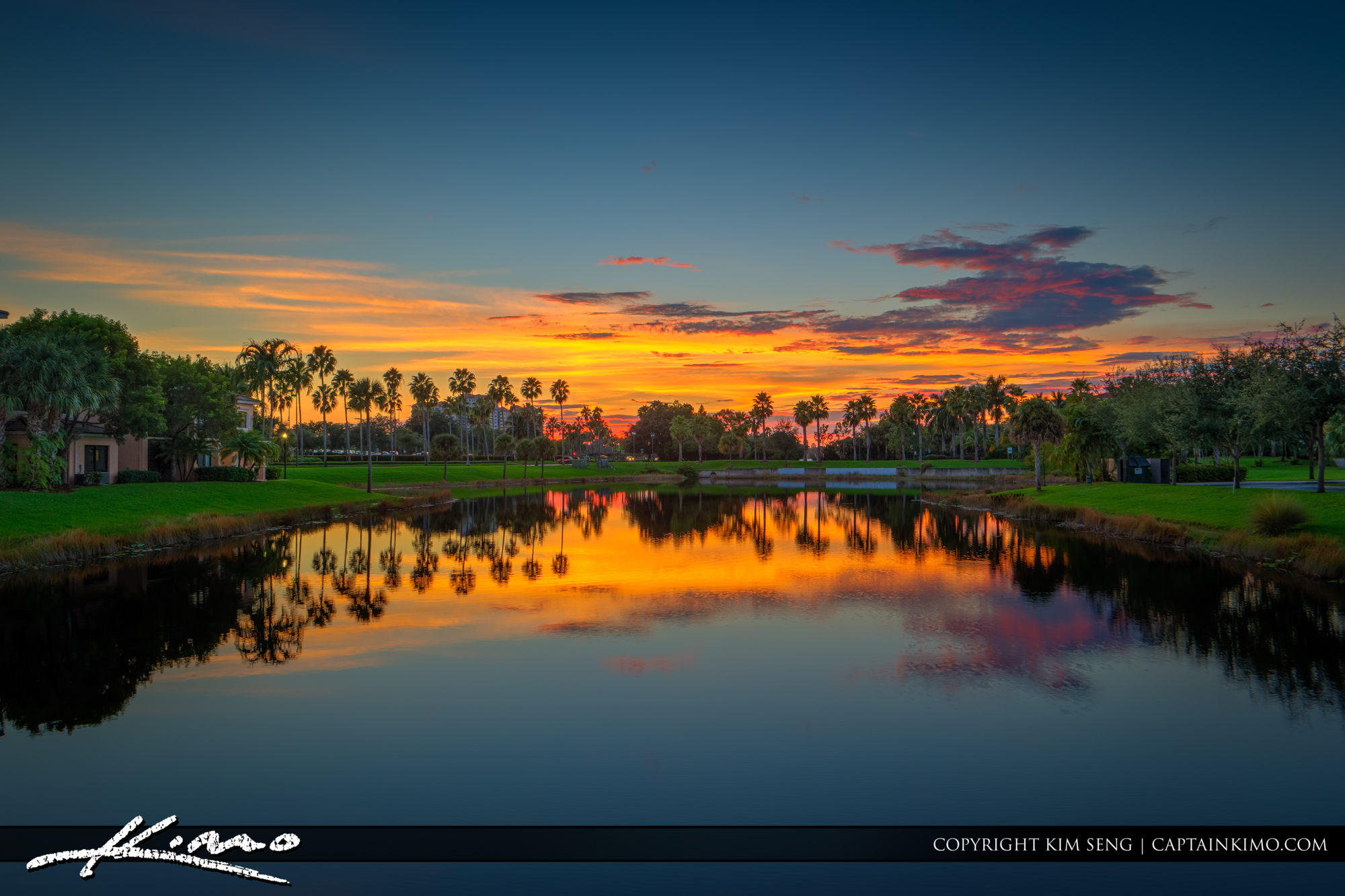 Colorful Sunset Over the Lake Palm Beach Gardens
