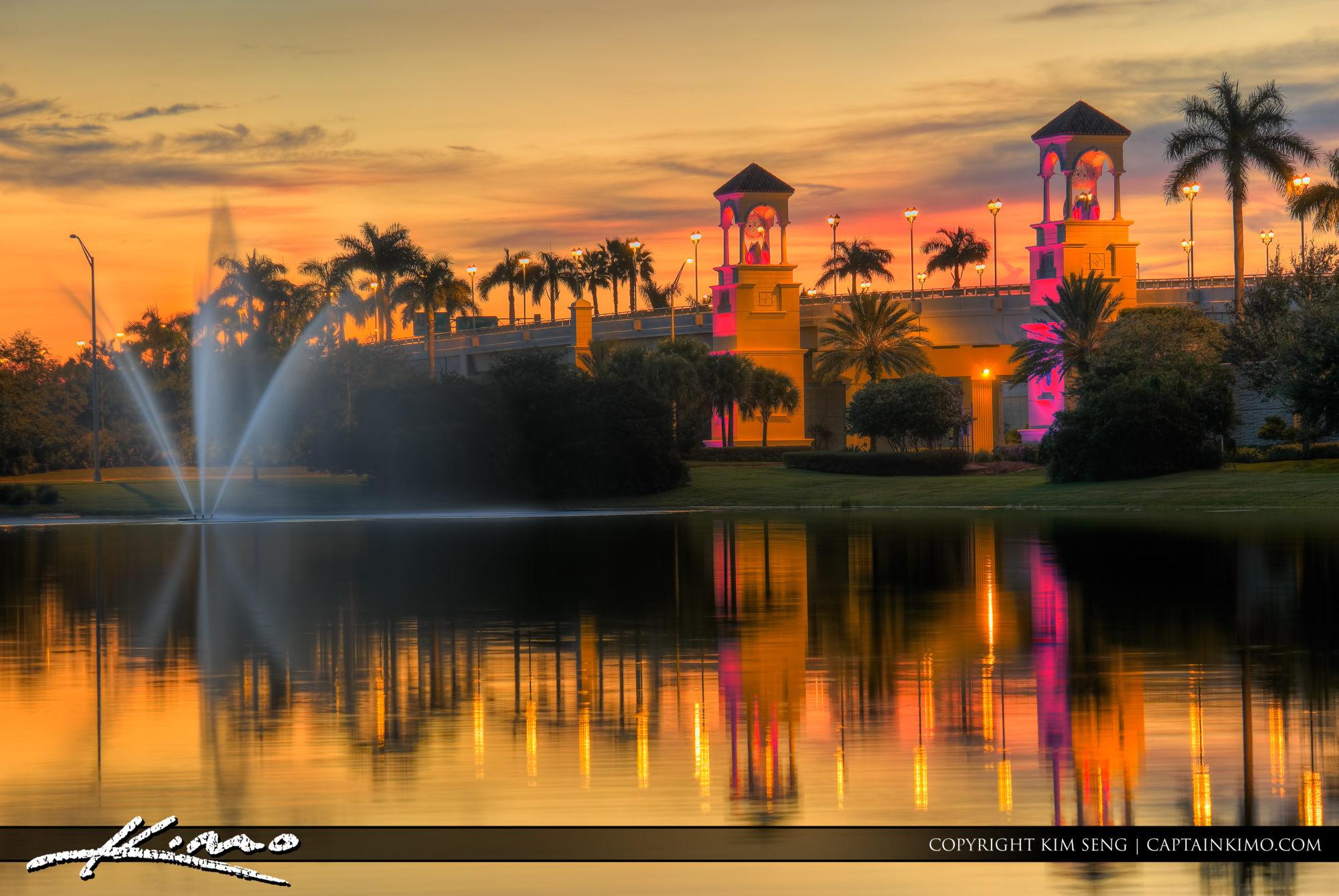 PGA Boulevard Bridge Sunset at Lake
