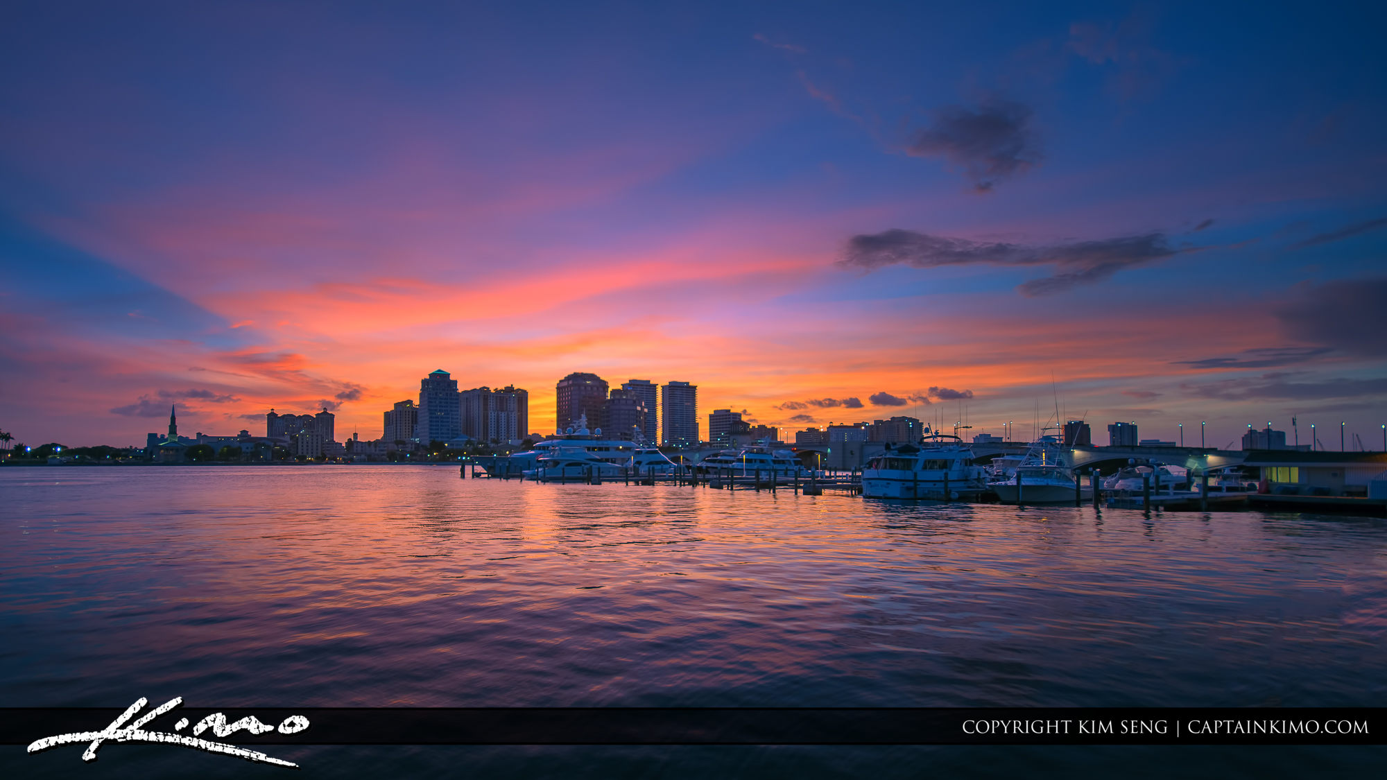 West Palm Beach Purple Sunset at the Waterway