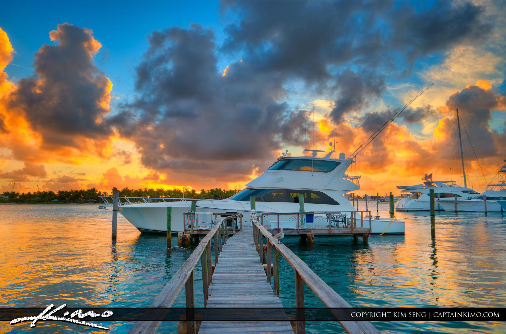 Yacht at Sunset Sailfish Marina Singer Island Florida