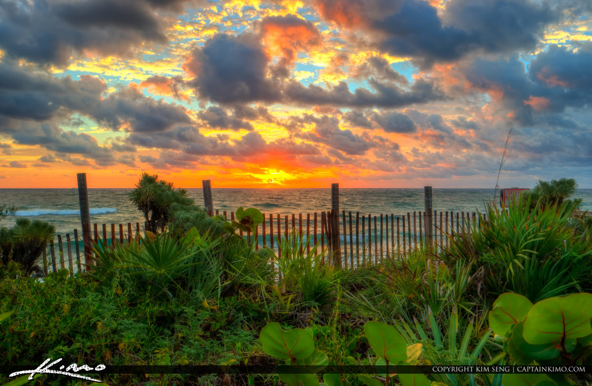 Lantana Beach Sunrise along Fence