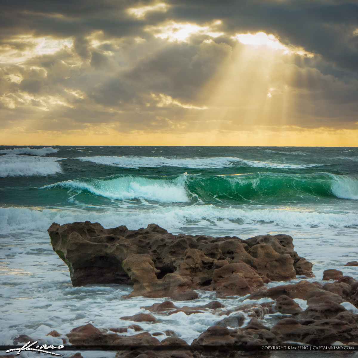 Rays of Hope Over Ocean